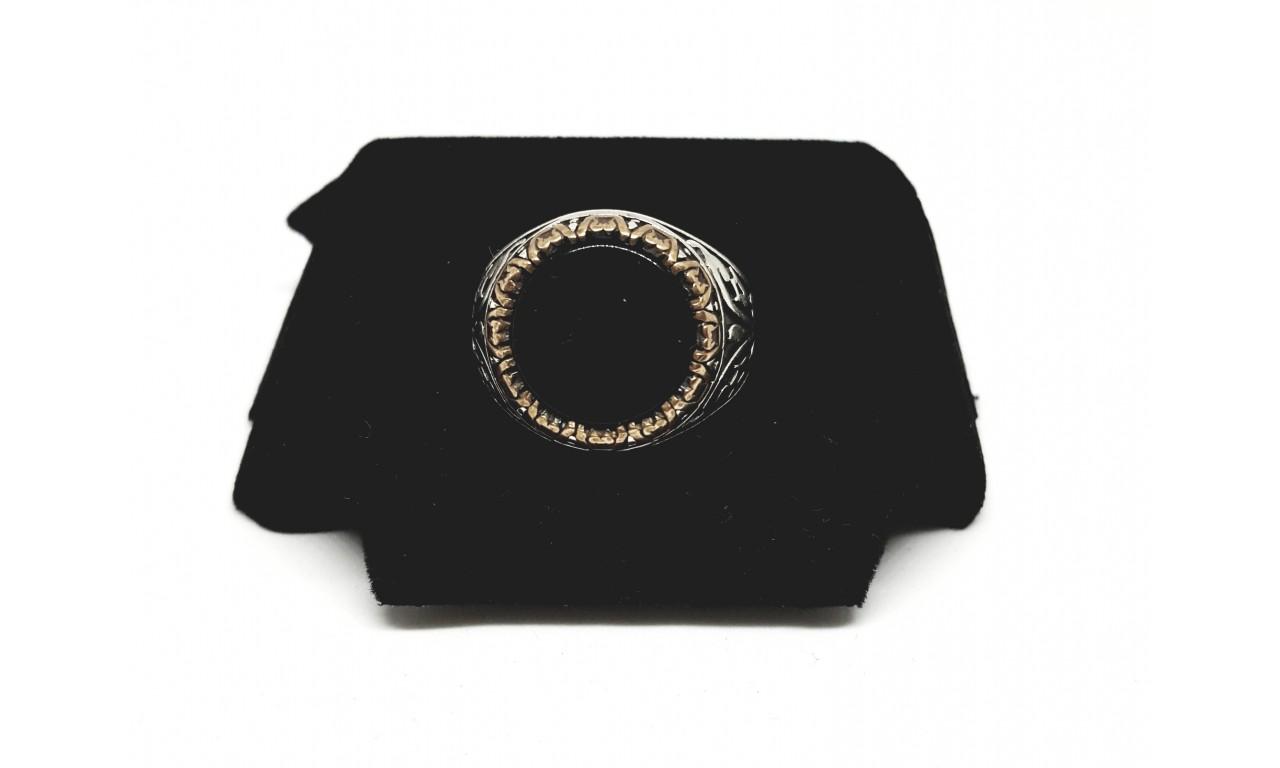 Oltu taşı Altın Yaldızlı Erkek Yüzüğü
